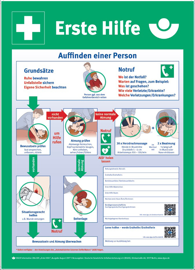 Instructions for first aid at accidents, green